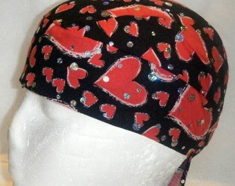 Black Skull Cap w Red Sparkly Hearts, Chemo Cap, Hats, Biker, Head Wrap, Do Rag, Valentine, Helmet liner, Surgical Cap, Motorcycle, Kids