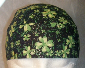 Black Skull Cap with Sparkling Green Shamrocks, St. Patrick's Day, Chemo Cap, Hats,  Head Wrap, Do Rag, Irish, Motorcycle, Bald, Hair Loss,
