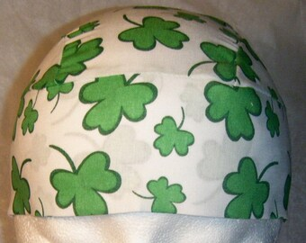 White Skull or Chemo Cap with Green Shamrocks, Biker, Head Wrap, Hats, St Patrick's Day, Do Rags, Hair loss, Bald, Motorcycle, Alopecia