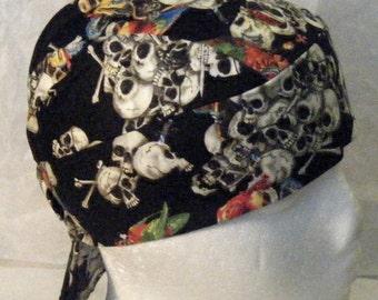 Black Skull Cap W Skulls & Parrots, Chemo Cap, Biker, Head Wrap, Do Rag, Hats, Motorcycle, Hair loss, Bald, Surgical Cap, Handmade, Alopecia