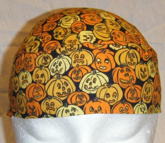 Handmade Pumpkins Skull Cap, Hat, Chemo Cap, Motorcycle, Halloween, Orange, Black, Hair loss, Surgical Cap, Handmade, Alopecia, Helmet Liner