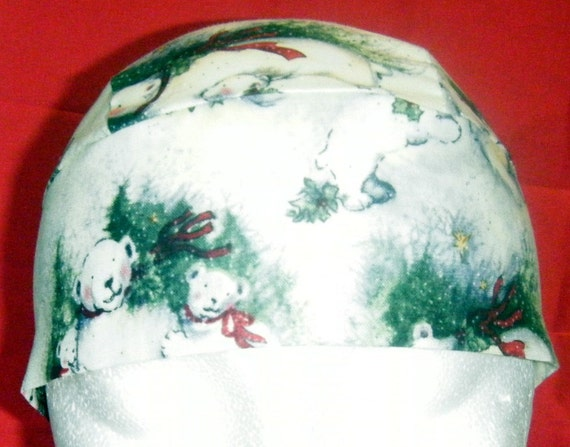White Snow Skull Cap W Bears Chemo Cap Hats Biker Head