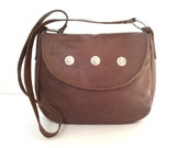 CLEARANCE SALE - Brown Leather Shoulder Handbag with Silver Studs