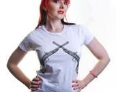 Retro Pistols Ladies White Tshirt S M L XL