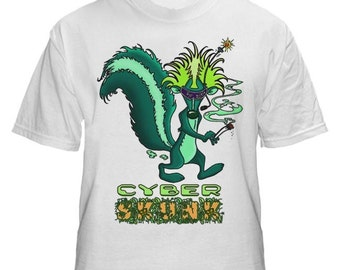 Cyber Skunk Mens White Tshirt S M L XL XXL.