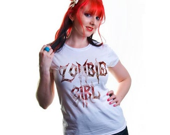 Zombie Girl Horror Ladies White Tshirt S M L XL