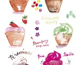 Cupcakes Watercolor 8X10 Food art print Kitchen decor Cake Pink Bakery