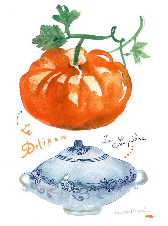 The pumpkin soup - Original watercolor painting