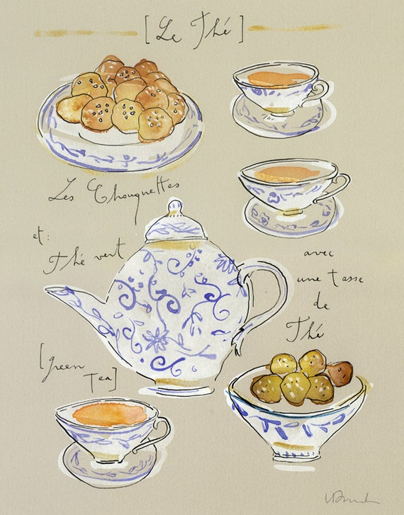 Green tea with french chouquettes cakes - Original watercolor painting - The tea and teapots collection