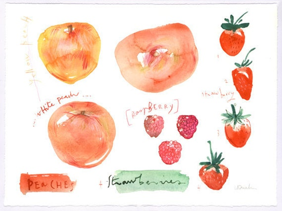 Summer fruits Peach and strawberry - Original watercolor painting - Seasonal fruits kitchen collection - Food art