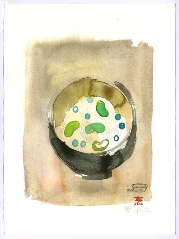 Japanese Mame Gohan - Original watercolor painting - Art for kitchen - Watercolor food art