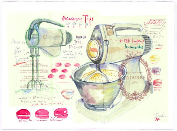 French macarons tips - Original watercolor and mixed media painting on Ladurée wrapping paper