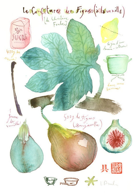 Fig jam with vanilla recipe Original watercolor painting Food art Kitchen decor Fruit Illustration Botanical french green drawing