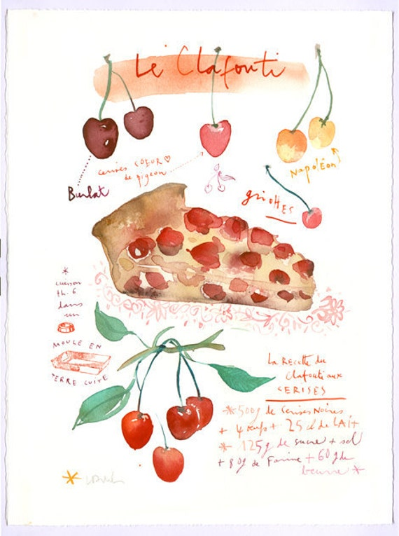 Cherry clafouti recipe Original watercolor painting French bakery Art for kitchen