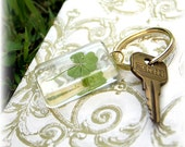 A Real 4 Leaf Clover Keyring to Represent Faith, Hope, Love, and Luck for Him or Her
