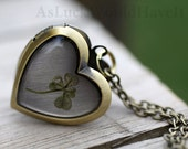 Wearable Plant 4 Leaf Clover Heart Locket made of Brass with a Lovely Chain Beautiful Botanical Nature Inspired Jewelry - The ORIGINAL
