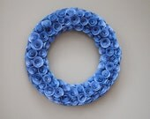 Bright Sky Blue Hand Painted Rolled Paper Rose Wreath Wall Decor - 17 Inches