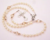 Tiny Cream and Gold Swarovski Crystal Baptismal Rosary