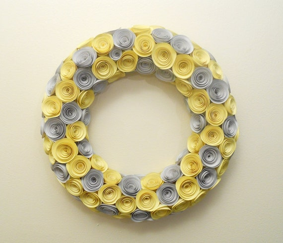 Yellow and Gray Paper Rose Wreath 13 Inches