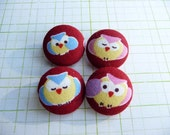 4 Kawaii owl in red handmade fabric covered buttons 7/8 inches - christmas gift for sewing friends