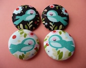 4 winter love birds big fabric covered buttons XL 38mm 1 1/2 inches