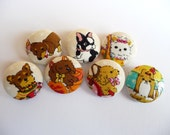 7 puppies dogs fabric covered buttons 7/8 inches