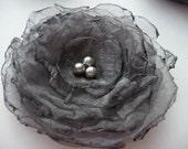 grey charcoal organza blossom flower hair clip brooch gift under 10 dollars