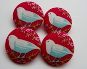 4 winter red love birds shabby chic  fabric covered buttons 1 1/8 inches