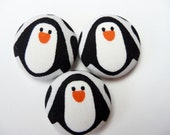 3 kawaii black and white penguins handmade fabric covered buttons 1 1/8 inches