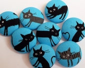 8 blue kawaii Japanese cats kittens handmade fabric covered buttons  7/8 inches