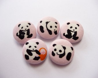 5 Kawaii Panda Pink handmade sew on fabric covered buttons 7/8 inches christmas gift under 10 dollars