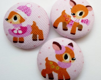 3  kawaii bambi deers handmade fabric covered buttons 1 1/8 inches