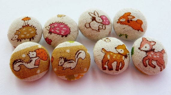 8 Kawaii woodland friends beige linen handmade fabric covered buttons  3/4 inches