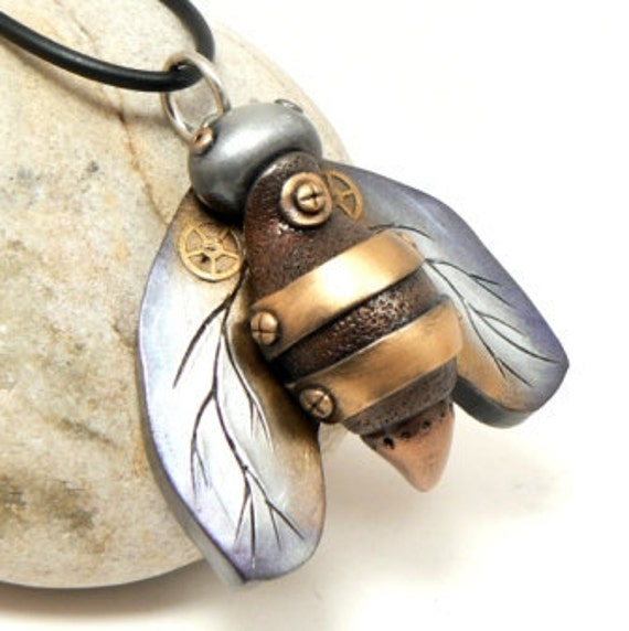 Bee Jewelry Steampunk Style Pendant Industrial Wings Copper