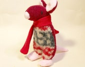 mouse, plush animal, sale,sock animal, animal miniature doll, upcycled cashmere sweater, recycled wool, plush miniature, red, sock , Jingle