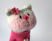 cat, sock animal, plush animal, sock doll, pink, stuffed animal, soft sculpture, Blush