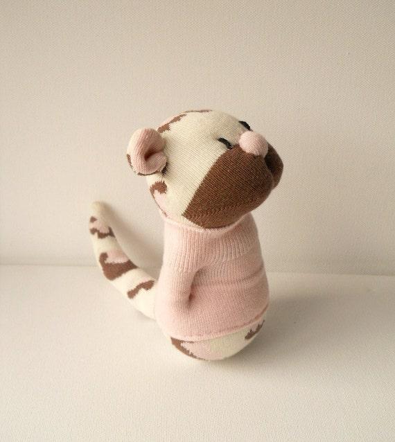 leopard, plush animal, sock animal, pink, sock doll, soft sculpture, Muffin