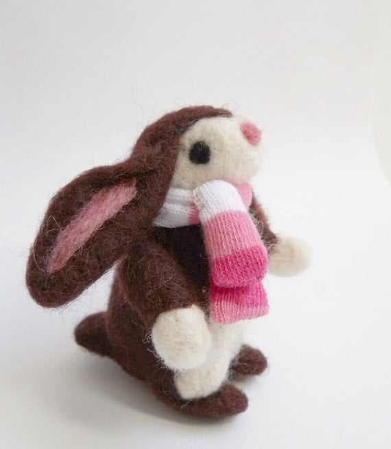 needle felted rabbit, bunny, felted animal, wool miniature, Easter, soft sculpture, Rosie