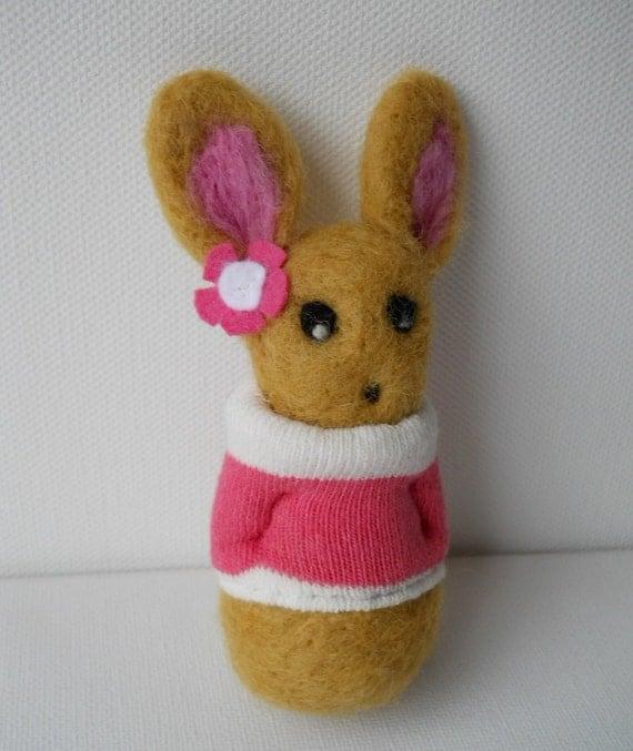 sale needle felted animal rabbit bunny  miniature  pink sock called Rosemary