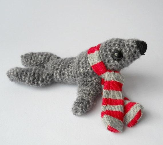 sale Amigurumi crochet animal seal wool miniature doll grey gray sea animal soft sculpture called Sammy