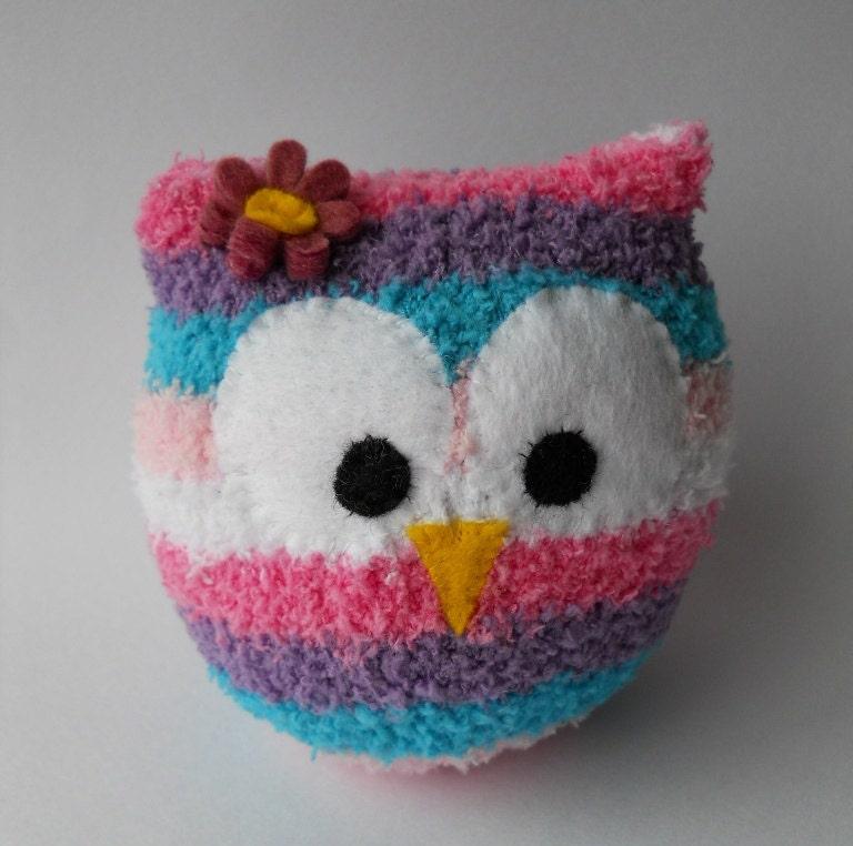 owl sock animal plush animal sock doll pink hoot sock