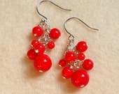 Tomato - Red orange Czech glass cluster earrings