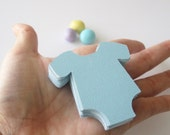 Onesie Die Cut (2.2 inches) Textured Cardstock , Set of  48 Baby Pastel Blue or choose the color  A39