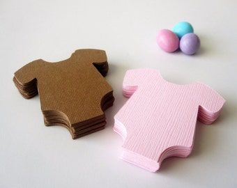 48 Baby Bodysuit Die Cut Pink and Brown (2.2 inches) Textured Cardstock Die Cut  A178