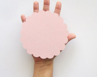 16 Big Scalloped Circle for banner (5.0 inches) Scalloped Circles in Textured Cardstock A68
