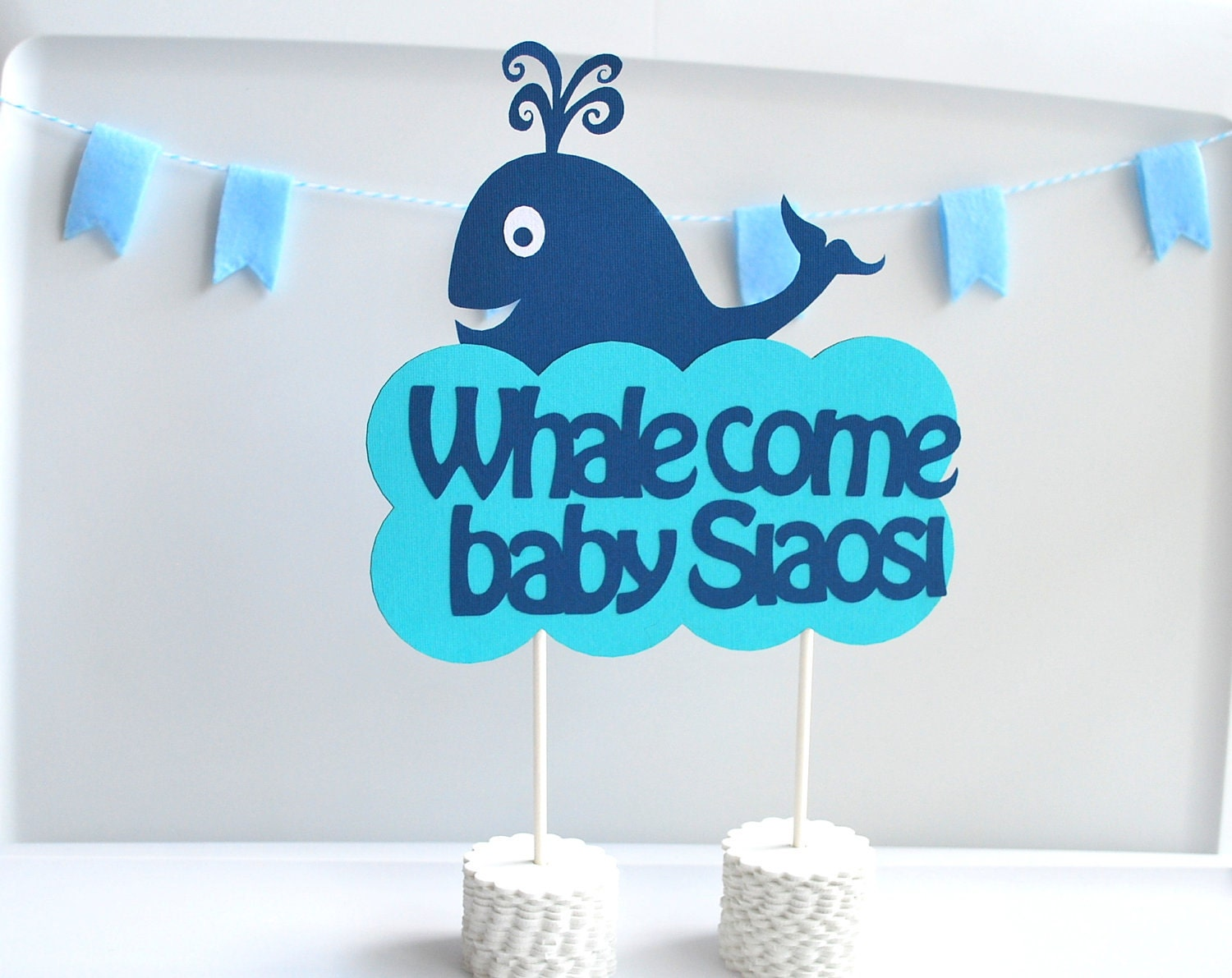 Whale come centerpiece welcome centerpiece whale baby for Baby welcome party decoration ideas