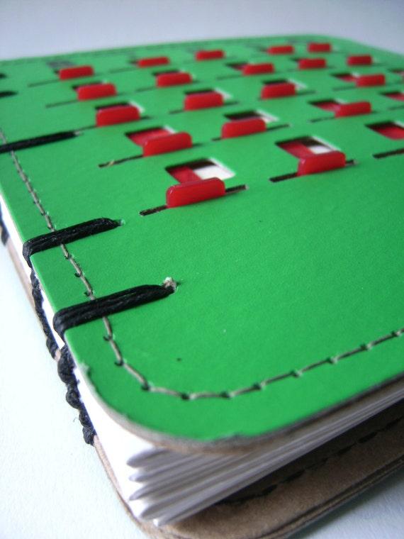 Vintage BINGO sketchbook / journal / photo album - green red sliders