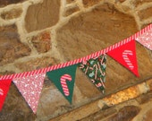 Candy Cane Fabric Christmas Holiday Banner Bunting Red and Green