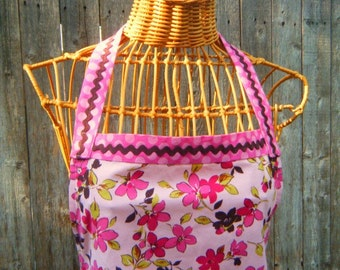 Apron Rose Pink Floral and Polka Dot Brown Rick Rack Craft and Gardening Apron