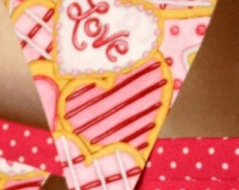 Banner Pink Love Hearts Valentines - Fabric Heart Sugar Cookies Bunting-Love Fuchsia Pink and White Polka Dots